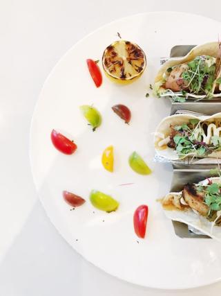 Grand Beach Hotel Chez Gaston Dinner Menu- mahi tacos