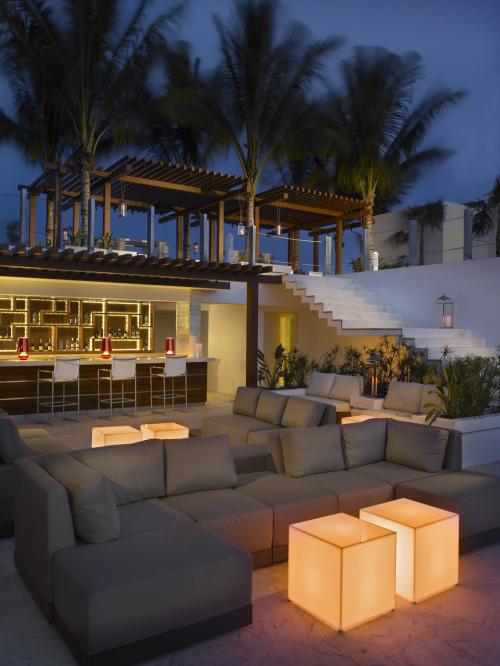 Grand Beach Hotel Surfside. Sky Bar. Rooftop Bar at night.