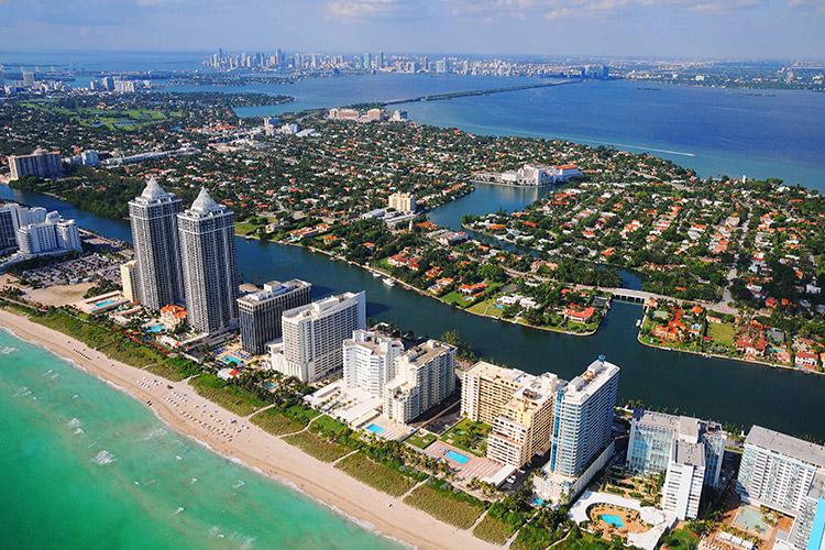 Miami Beach Aerial View. Grand Beach Hotel